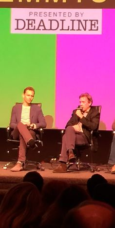 """Tom Hiddleston and Hugh Laurie at the Emmy FYC """"The Contenders"""" event at the DGA Theater, April 10, 2016. Source: https://twitter.com/FrankMorronemix/status/719245259138465792 Video: https://www.facebook.com/deadlinehollywood/videos/10154884986674897"""