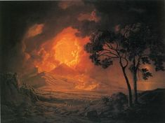 An Eruption of Mount Vesuvius, with the Procession of St. Januariu'-s Head, 1778 by Joseph Wright