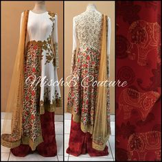 Mix Match, Asymmetrical anarkali with printed palazzo by MischB Couture #desicouture #desifashion #desibride #mischbcouture