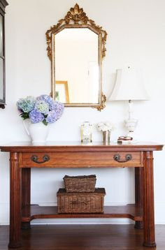 Foyer inspiration... Still looking for the perfect table. A Country Farmhouse: Hydrangea and An Old Desk