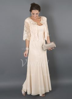 Mother of the Bride Dresses - $139.78 - A-Line/Princess Sweetheart Floor-Length Chiffon Mother of the Bride Dress With Lace (0085094877)