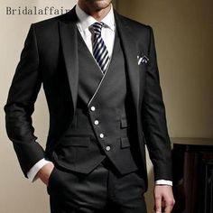 Bridalaffair Black Formal Men Suit Slim Fit Mens Suits Bespoke Groom Tuxedo Blazer for Wedding Prom Jacket Pants with Vest - shoppeyshop Groom Tuxedo, Tuxedo Suit, Tuxedo For Men, Dress Suits For Men, Men Dress, Men's Suits, Groom Suits, Groom Wear, Groom Attire