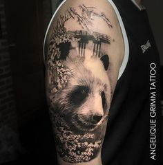 Search inspiration for a Realistic tattoo. Panda Tattoo, Panda Bear Tattoos, Animal Tattoos, Real Tattoo, Arm Tattoo, Sleeve Tattoos, Beautiful Tattoos, Cool Tattoos, Awesome Tattoos
