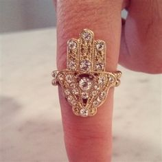 ✦ ✦ Black Friday SALE ✦ ✦ SAVE 40% enter code 'BlackFriday' at checkout!!!!! www.TotallySassy.com Hamsa  Gold  Clear Stones Stretch Ring