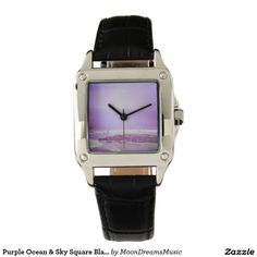 Purple Ocean & Sky Square Black Leather Watch by #MoonDreamsMusic #BlackLeatherSquareWatch #PurpleOceanAndSky
