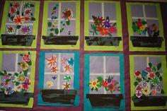 Vensterbank met bloemen