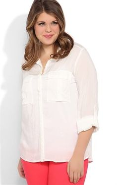 Plus Size Button Down Top with Roll Tab Sleeves