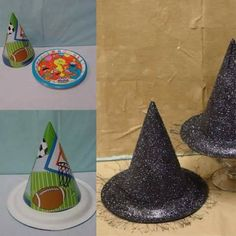 Witches hat from paper party hat and plates spray painted and glittered