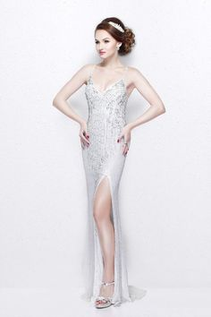 4a6b830ae921dd Primavera Couture - Sequined V-Neck Sheath Gown with Crisscrossed Straps  1818