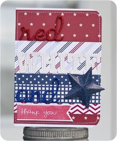 Red, White, and Blue, thank you by Laura Craigie - Two Peas in a Bucket #cardmaking