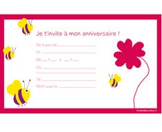 Cartons d'invitation anniversaire enfants à imprimer