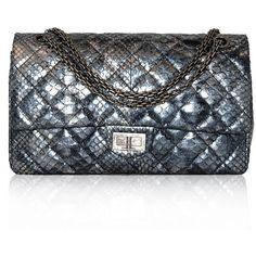 Chanel Metallic Python Flap Bag ❤ liked on Polyvore