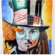 This is so well done...The many faces of Johnny Depp.  Clockwise from top left:  The Mad Hatter, Willy Wonka, Captain Jack Sparrow, Edward Scissorhands.