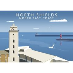 'North Shields' Graphic Art East Urban Home Format: No Frame, Size: 40 cm H x 50 cm W x 1 cm D North Shields, Painting Prints, Fine Art Prints, Under The Rain, Railway Posters, Vintage Travel Posters, Poster Vintage, State Art, Framed Wall Art