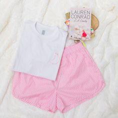 Conjunto T-shirt + Short Listrado Lauren Conrad, Onesies, Kids, Baby, Clothes, Fashion, Young Children, Outfits, Moda