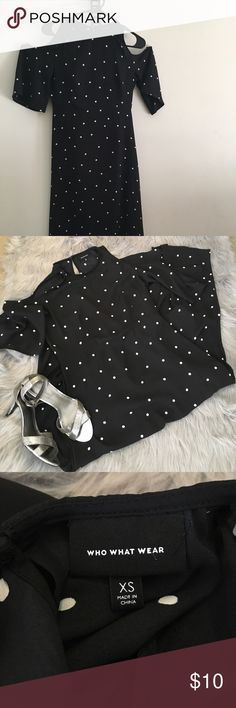 Who What Wear Black Polka-Dot Dress Beautiful Midi-length dress with a peekaboo shoulder. Very flattering !!! who what wear Dresses Midi