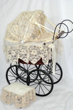 Vintage German style Baby Buggy Doll Carriage Stroller wood, wicker & lace