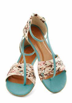 Light Blue Printed Sandals