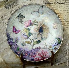"Тарелка-панно ""Пионы Парижа""-1 - тарелка,панно,Декупаж,пион,цветы,авторская ручная работа"