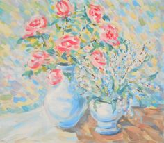 Original Oil Painting Red Rose Flower in Vase Giclee Pastel Still Life Living room hanging Wall Decor Fine Art Gallery Palette knife Artwork (70.00 USD) by FrozenLife