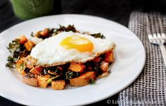 Roasted Sweet Potatoes and Kale with a Fried Egg