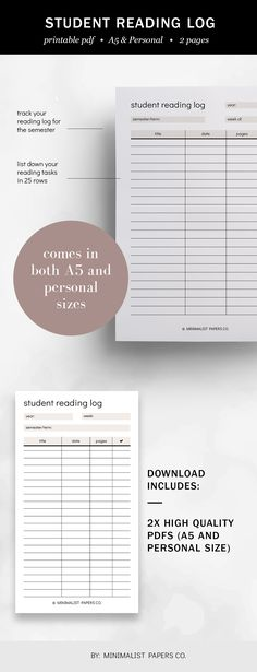 Minimalist Student Reading Log, Reading Planner, Student Planner, Reading Printable, Book Log Printable - A5 & Personal Size For Individual Who Loves Minimalistic And Clean Design, Instant Download! #studentplanner #readinglogplanner #etsyplanner #minimalistplanner #dailyplanner #studentreadinglog #a5inserts #minimalistpapersco Reading Log Printable, Printable Planner, Printables, Book Log, Planner Dividers, Reading Logs, Student Planner, Student Reading, Papers Co