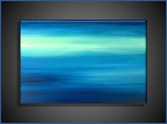 Large Original Abstract Canvas Contemporary/Modern Painting  - 24x36 - Blue-Greens, Baby blue, and more via Etsy