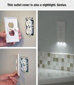 Outlet Cover With Nightlight! Genius! And you wouldn't lose an outlet to have a nightlight plugged in all the time! Where can I find one ;) by maritza