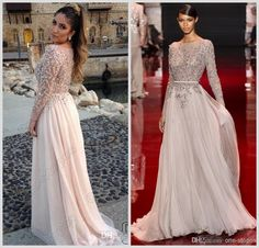 Discount 2014 Elie Saab Sparkly Crystal Beads Pageant Dresses Long Sleeve Illusion Sheer Chiffon Summer Beach Sweep Train Formal Prom Gowns Online with $135.74/Piece | DHgate