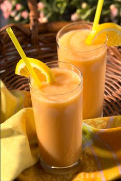 Dole Banana Orange Smoothie 2 ripe, large DOLE Banana 2 medium Oranges 8 ounces (2 cartons) vanilla lowfat yogurt Dash of ground cinnamon and nutmeg
