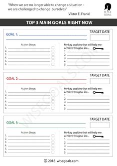 You can use these goal setting worksheets to think through your goals and future dreams. They include: creating a long term vision, and your main goal right now Goal Setting For Students, Smart Goal Setting, Goal Setting Sheet, Setting Goals, Goal Setting Template, Goals Template, Life Goals List, Daily Goals, Goal List