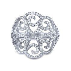 6 Art Deco Cz 925 Silver Big Cocktail Ring Filigree Micro Pave Cz, Women's, Clear
