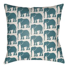 "Artistic Weavers Lolita Elephant Indoor/Outdoor Throw Pillow Size: 16"" H x 16"" W, Color: Kelly Green/Ivory"