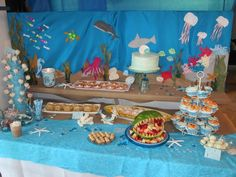 Under the Sea Party #underthesea #party I like the backdrop idea for the food table