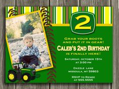 Absolutely adore these 3 kid stuff pinterest party planning tractor birthday invitation free thank you card included 1500 via etsy ky filmwisefo Choice Image