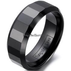 Damen Herren Keramik Ring Partnerringe Eheringe schwarz facettiert 8mm breit