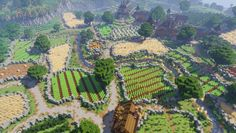 Minecraft Farming Village Remake This is a remake that I did of a default Minecraft plains village and then then built up a massive farmland area around it! All Minecraft Vanilla survival built Minecraft Villa, Architecture Minecraft, Art Minecraft, Minecraft Structures, Minecraft Cottage, Cute Minecraft Houses, Minecraft Plans, Minecraft House Designs, Minecraft Survival