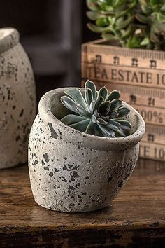 """Slanted cement planter. Distressed finish. (Plant not included.) Dimensions: 4.5"""" x 5.25"""" x 5"""""""