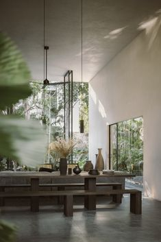 Aviv House in Tulum, Mexico by CO-LAB Design Office | Yellowtrace Built In Furniture, Lounge Furniture, Polished Cement, Architecture Design, Tropical Architecture, Bedroom Frames, Terrazo, Cement Walls, Interior Minimalista