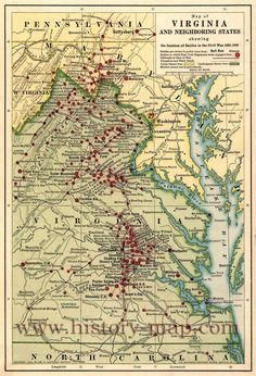 """Map of eastern Virginia and parts of North Carolina, Maryland, West Virginia, and Pennsylvania, showing """"battles in which New York regiments were engaged,"""" """"railroads at time of the civil war,"""" and """"turnpikes and plank roads."""" Union states are colored yellow, and Confederate states are green."""