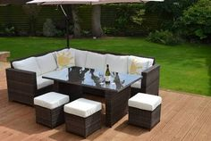 Granada Garden Rattan Corner Sofa Dining Set Table Brown From Our Furniture Range At Tesco Direct
