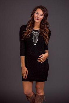 Cozy Nights Knit Sweater Dress (Black)