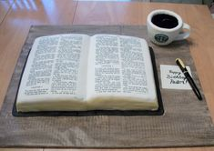 Pastor's Bible & Coffee Cake  Pastor's Bible & Coffee Cake This is a cake I made for my Pastor's birthday. He loves the Lord and his coffee;) so I
