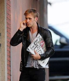 RYAN GOSLING IN OUR LEATHER BIKER JACKET 3.1 Phillip Lim