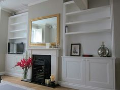 Alcove Units - how to make the most of our space in the family room and hide toys! Alcove Ideas Living Room, Built In Shelves Living Room, Living Room Bookcase, New Living Room, Home And Living, Living Room Designs, Living Room Decor, Dining Room, Living Area