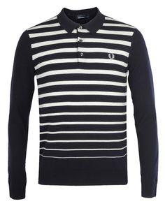 FRED PERRY AUTHENTIC Mens NAVY LONG SLEEVE KNITTED STRIPE POLO SHIRT