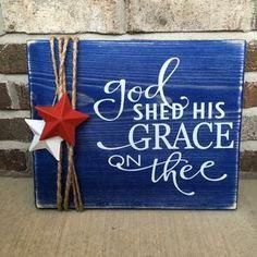 "Rustic Sign Memorial Day /Fourth of July ""God Shed His Grace On Thee"" Wooden Rustic Sign Memorial Day /Fourth of July ""God Shed His Grace On Thee"",Wooden Rustic Sign Memorial Day /Fourth of July ""God Shed His Grace On Thee"", Grey and Red Bedroom Theme"