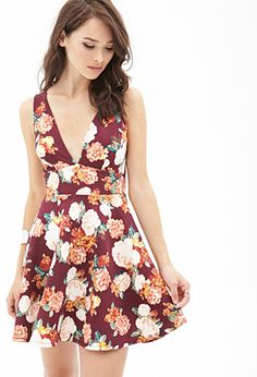 Buy it now. FOREVER21 Women's  Brick & Blush Floral A-Line Dress. The perfect femme dress with an edged flair, this sleeveless piece features a vintage-inspired floral print, deep V-neckline, and a petite cutout back. Cut from a scuba knit fabric to ensure all-day comfort along with effortless style. Try this A-line number with tough combat boots or a moto jacket for an off-the-cuff look. Unlined95% polyester, 5% spandex31.25%22 full length, 31%22 chest, 24.5%22 waistMeasured from SmallHand…