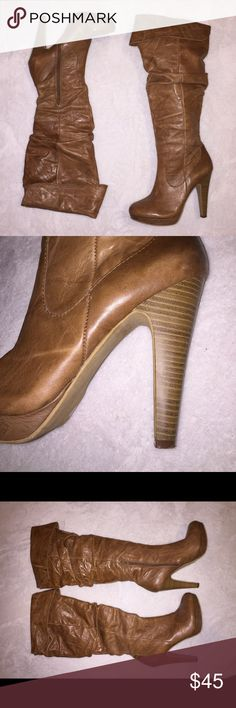 Jessica Simpson Anna Tall Boot Tall Anna boot by Jessica Simpson. These boots are beautiful and just looking for a new owner. The leather has been polished and shined. Size 7 women's. Jessica Simpson Shoes Heeled Boots