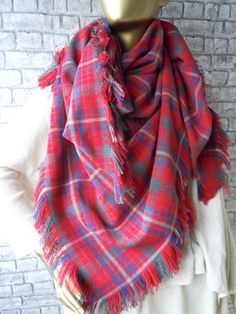 Red  And Blue Plaid scarf / Plaid Blanket Scarf by bosphorusscarf